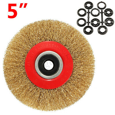 5'' 125mm Fine Wire Brush Wheel For Bench Grinder Polish + 10 Adaptor Rings