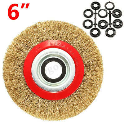 6'' 150mm Fine Wire Brush Wheel For Bench Grinder Polish + 10 Adaptor Rings
