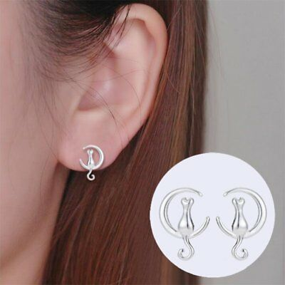 Fashion Moon Cat Animal Ear Stud Earrings Womens Girls Jewellery Party Wedding