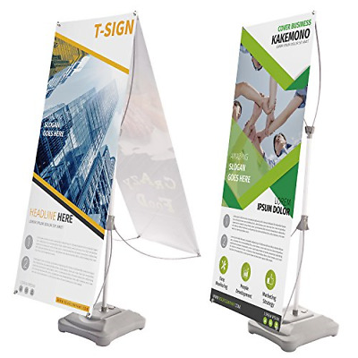 T-Sign Water Filling Base Tripod X Banner Stand, Double-Sided Adjustable Outdoor