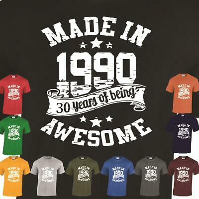 Made In 1989 30th Birthday Gift Casual Being 30 Years Mens Ladies Tshirt Awesome