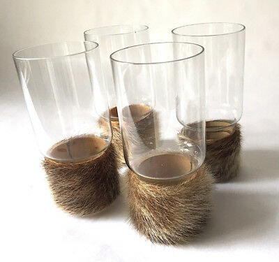 Carl Auböck Set of Four Glasses with Fur, Handle 50s 60s Mid Century,Hagenauer