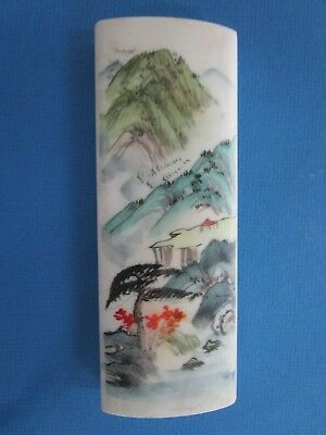 Vintage Chinese Marble Asian Landscape Scene Paper Weight