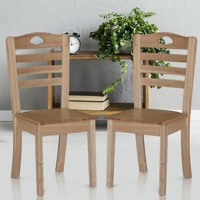 HOMCOM Dining Chairs Set of 2 Compact Solid Wood Seat Miniature Kitchen