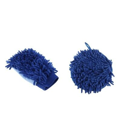 Waterproof Car Washs Auto Care Microfiber Chenille Glove Wiper Clean Blue