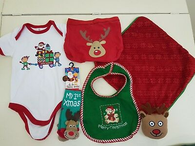 baby boys or girls size 0 christmas outfit clothes and comforter blanky soft toy
