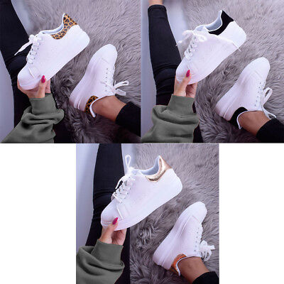 Womens Girls Leopard Chunky Lace Up Flat Trainer Pump Plimsoll Ladies Shoe Size