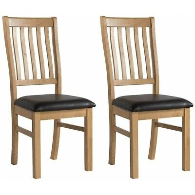 London Oak Furniture Dining Chairs Slat Back with PU Leather Padded Seats PAIR
