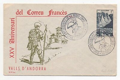 1956 FRENCH ANDORRA Cover 25th ANNIVERSARY OF FRENCH POST Andorre SGF144
