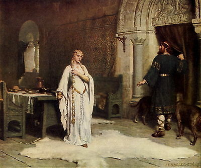 Old Antique LEIGHTON Vintage Art Print Medieval Castle Lady Godiva Wolfhound Dog