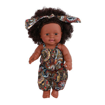 Baby Doll with Brown Curly Hair, Floral Overalls for 3 Year Old Girls & Boys