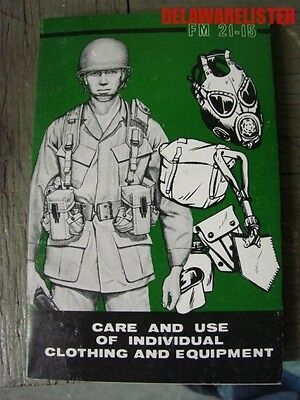 *VINTAGE U.S. ARMY Military FIELD BOOK FM 21-15 CLOTHING & EQUIPMENT CARE 1977