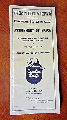 Vintage 1959 Canadian Pacific Railway Trains, Ships Assignment Of Space Brochure