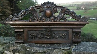 SUPERB 19thc GOTHIC OAK CARVED PEDIMENT WITH WINGED IMP CREATURES