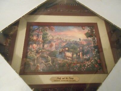 Thomas Kinkade Studios Disney Lady And The Tramp Brushworks Framed Canvas Coa