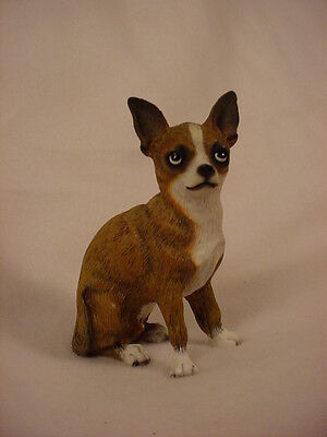 CHIHUAHUA dog HAND PAINTED Figurine BRINDLE WHITE Puppy COLLECTIBLE resin Statue