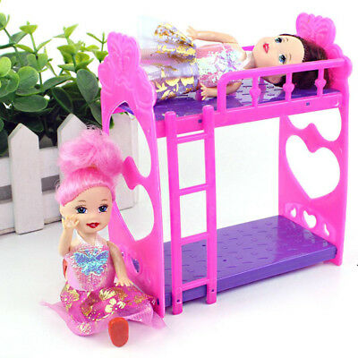 Doll House Furniture Plastic DollBaby Bunk Bed Bedroom Supplies for Baby Dolls