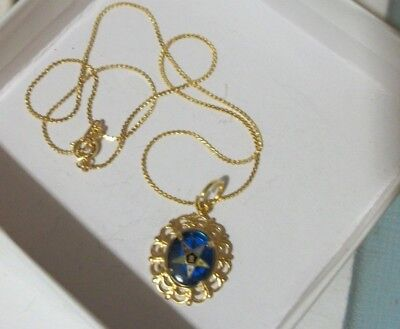 Eastern Star-Classic Pendant Blue Stone Necklace-New-In A Gift Box!