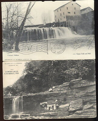 Pair Early Sepia Photo Post Cards, Cataract, In. Upper Falls-Mill & Lower Falls