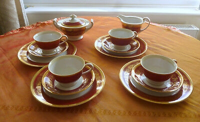 Lovely Red and Gold Tokyo China Part Tea Set - 14 Pieces - Christmas/New Year