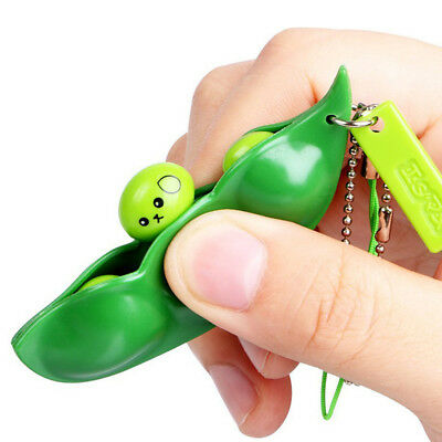 1 Piece Funny Squeeze Bean Keychain Practical Stress Relieving Pea Chain Toy