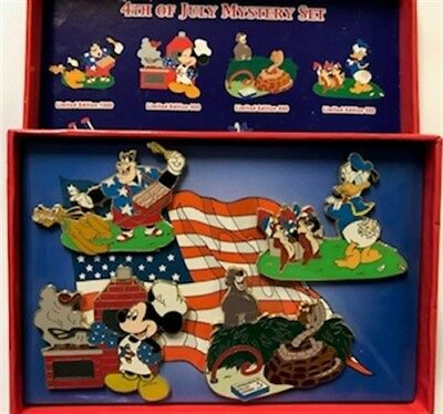 Disney Shopping 4th of July Mystery 4 Pin Set Mickey Chip N Dale Donald Pete Kaa