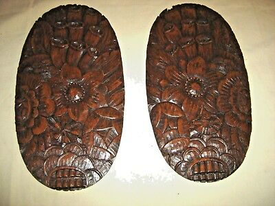 Antique Pair Oak Salvage Carvings Pediments with Flowers and Leaves 9453