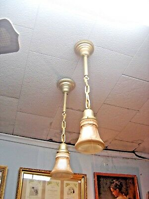 Antique Pair Single Drop Brass Fixtures w/ matching pair of embossed shades 7623