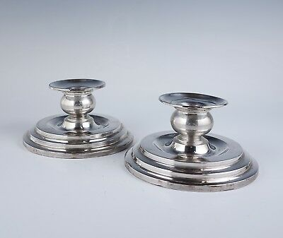Vintage Early 20c 830S  Art Deco Stepped Norwegian Silver Candle Holders