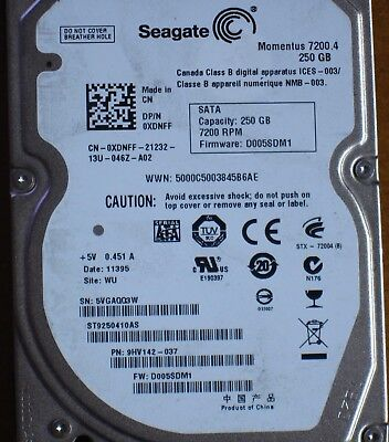 "250GB Seagate, 2,5"" HDD, TYP Momentus 7200.4, SATA 7200rpm, ST9250410AS"