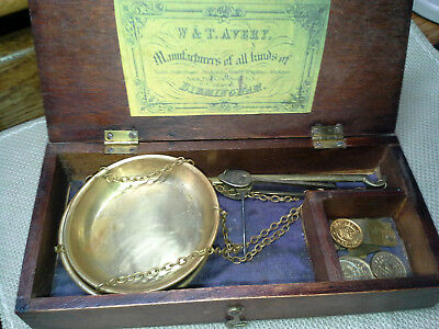"Antique ""W & T. Avery""  Vintage California Gold Rush Miners Scale, w Weights"