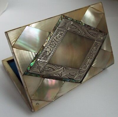 Beautiful Rare English Antique Solid Silver & Mother Of Pearl Calling Card Case