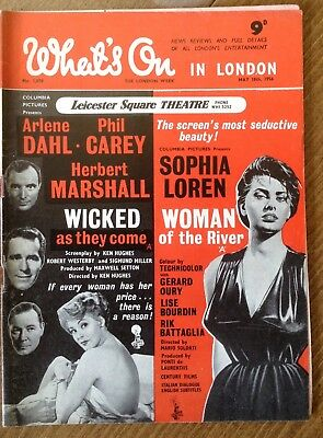 """Vintage magazine, """" What's on in London """" 1956 cover Sophie Loren"""