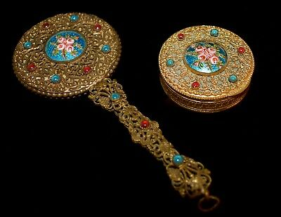 Stunning Antique FRENCH Brass Jeweled ENAMEL GUILLOCHE Hand Mirror & COMPACT