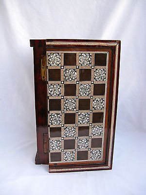 "Egyptian Inlaid Mother Of Pearl Wooden Chess Backgammon Board 11.5"" With Pieces"