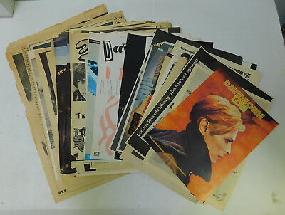 David Bowie - Lot of 50+ Ads Clippings Posters Hunky Dory Ziggy Low Heroes Etc