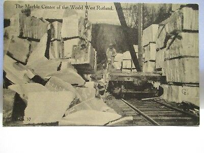 "1915 Photo Postcard  "" The Marble Center Of The World ""  W. Rutland Vt Quarry"