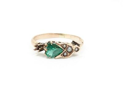 Antique Victorian Solid Rose Gold Emerald Heart Seed Pearl Ring for Restoration