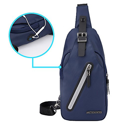Stuo Men's Sling Bag Headphone Port Waterproof Crossbody Shoulder Bag Outdoor