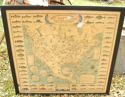Big Vintage Pictorial Map North America Big Game Fish Fishing Joe Rumsey Jr 1936