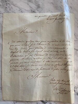 1793: Autograph Letter Of The French Revolutionary  Army Commander - Great Gift
