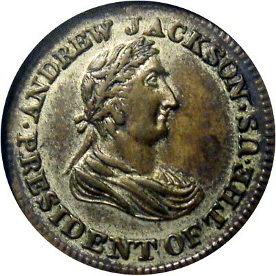 1834 Andrew Jackson Political Campaign Hard Times Token Silvered R6 HT-6A Low 4A