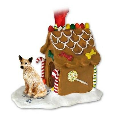 AUSTRALIAN CATTLE DOG GINGERBREAD HOUSE Christmas Ornament FIGURINE red heeler