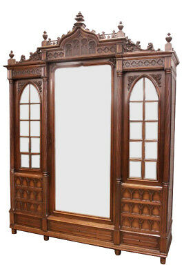Antique French Gothic Armoire, Beveled Mirrors, 19th Century