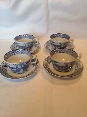 Vintage Wood And Son Yuan Cups And Saucers. Set Of 4. Great Condition & Freebies