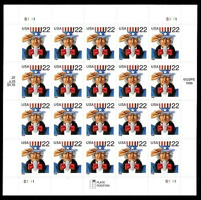 3259 Uncle Sam Stamp Sheet 22¢ MNH