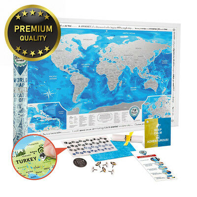 Scratch off World Map Poster - Large Detailed Travel 88 x 62 cm - Prize...