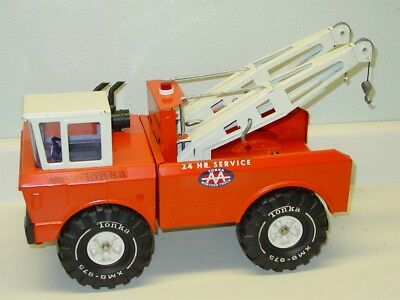 Vintage Mighty Tonka Orange Wrecker, Tow Truck, Pressed Steel Dual Boom