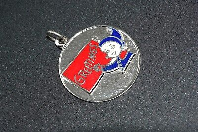 Greetings Elf Enamel Disc Christmas Charm Sterling Silver Vintage Mint