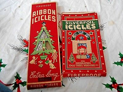 Lot of 2 Antique Boxes Tinsel Silver & Silver & Blue in Original Boxes Christmas